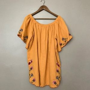Umgee Mustard Embroidered Off Shoulder Dress M